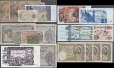 Algeria: large lot of 20 banknotes from different times and with different denominations, for example containing: 20 Francs 1942, 5 Francs 1941, 500 D...