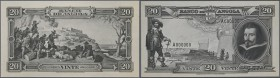 Angola: set of 2 front and back Photo Proofs of Angola 20 Angolares ND(1944) Pick 79p, zero serial number, original archival photo proofs of DLR with ...