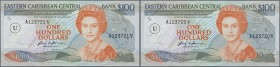 Anguilla: rare set of 2 CONSECUTIVE 100 Dollars ND P. 20u with serial numbers A123720V and A123721V, first one in UNC, second one in aUNC with light d...