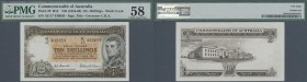 Australia: 10 Shillings ND(1954-60) P. 29k, condition: PMG graded 58 Choice aUNC.