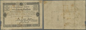 Austria: Privilegierte Vereinigte Einlösungs- und Tilgungs-Deputation 1 Gulden 1811, P.A44a in used condition with several folds, toned paper and a fe...