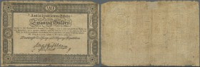 Austria: Privilegierte Vereinigte Einlösungs- und Tilgungs-Deputation 20 Gulden 1813, P.A53a, highly rare note in good condition with tiny border tear...