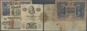 Austria: set of 4 banknotes containing 1 Gulden 1858 P. A84 (F), 5 Gulden 1859 P. A88 (F-), 1 Gulden 1866 P. A150 (VG) and 50 Kronen 1902 P. 6 (VG to ...