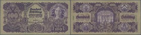 Austria: 100 Schilling 1927 P. 97, used with folds and creases, tiny center hole, no tears, condition: F.