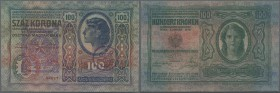 Austria: FIUME 100 Korona 1912 P. S115d withh large stamp ovpt. at left and additional round stamp at lower right, seldom seen, used note, folds, cond...