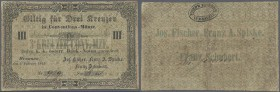Austria: Braunau, 3 Kreuzer Conventions-Münze 1849, P.NL, stained paper with several folds. Condition: F