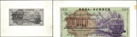 Austria: Design Study of a designer from the Austrian States Printing Works for a 100 Schilling 1968 REKA Cheque that was not issued later. The set co...