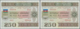 Azerbaijan: Pair of the 250 Manat 1993 State Loan Bonds, P.13A in almost perfect condition with a very soft vertical bend at center. Condition: XF+ (2...