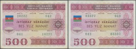 Azerbaijan: Pair of the 500 Manat 1993 State Loan Bonds, P.13B, lightly toned paper, vertically folded and some other minor creases. Condition: VF (2 ...