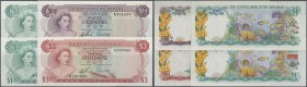 Bahamas: set of 4 banknotes containing 1/2 Dollar L.1965 P. 17a (UNC), 3 Dollars L.1965 P. 19a (XF), 1 Dollar L.1968 P. 26 (XF+ to aUNC) and 1 Dollar ...
