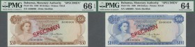Bahamas: set of 8 SPECIMEN banknotes from 1/2 Dollar 1968 to 100 Dollars 1968 Specimen P. 26s-33s, all PMG graded in: (starting with 1/2 Dollar:) 66 G...