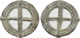 "CENTRAL EUROPE or GAUL. Uncertain. Cast Ae ""Roulle"" (Wheel) Money (1st century BC). Wheel of four spokes."