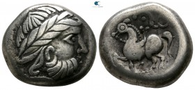 "Eastern Europe. Imitation of Philip II of Macedon circa 200-0 BC. ""Dachreiter"" type. Tetradrachm AR"