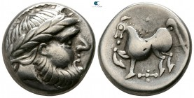"Eastern Europe. Imitation of Philip II of Macedon circa 200-0 BC. ""Kugelwange"" type. Tetradrachm AR"