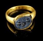 Roman Gold Ring with Clasped Hands Intaglio