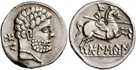 SPAIN. Bolskan. Circa 150-100 BC. Denarius (Silver, 18 mm, 3.99 g, 11 h). 'bon' (in Iberian) Bare male head to right. Rev. 'bolskan' (in Iberian) Warr...