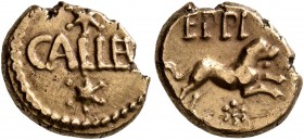 CELTIC, Britain. Atrebates & Regni. Eppillus , circa 10 BC-AD 10. 1/4 Stater (Gold, 11 mm, 1.18 g, 10 h), Calleva (Silchester). CALLEV between two...
