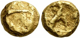 CELTIC, Northeast Gaul. Morini. 58-50 BC. 1/4 Stater (Gold, 9 mm, 1.92 g). Irregular bulge. Rev. Two lines. DT 249. Scheers, TC 297, 13 / Pl. V, 114. ...