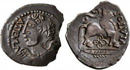 CELTIC, Northeast Gaul. Remi. Circa 50-30 BC. Quinarius (Silver, 16 mm, 1.31 g, 11 h), Autela and Ulatos. AVTELA Bust of winged Victory wearing torc t...