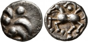CELTIC, Central Europe. Vindelici. Mid 1st century BC. Quinarius (Silver, 12 mm, 1.82 g, 3 h), 'Büschelquinar' type. Head devolved into a bush. R...