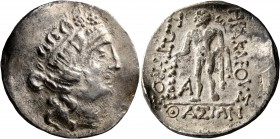 CELTIC, Lower Danube. Imitations of Thasos. Late 2nd-1st century BC. Tetradrachm (Silver, 29 mm, 16.18 g, 1 h). Celticized head of Dionysos to right, ...