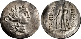 CELTIC, Lower Danube. Imitations of Thasos. Late 2nd-1st century BC. Tetradrachm (Silver, 33 mm, 17.02 g, 12 h). Celticized head of Dionysos to right,...