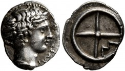 GAUL. Massalia. Circa 410-380 BC. Obol (Silver, 10 mm, 0.80 g). MAΣΣAΛI-[ΩTAN] Bare head of Apollo to right. Rev. Wheel of four spokes; M in one quart...