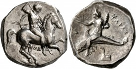 CALABRIA. Tarentum. Circa 332-302 BC. Didrachm or Nomos (Silver, 20 mm, 7.98 g, 3 h), Sa..., magistrate. Nude rider on horse galloping to right, stabb...