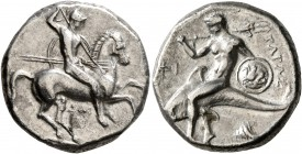 CALABRIA. Tarentum. Circa 332-302 BC. Didrachm or Nomos (Silver, 20 mm, 7.79 g, 12 h), Dai... and Phi..., magistrates. Nude rider on horse galloping t...