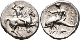 CALABRIA. Tarentum. Circa 315-302 BC. Didrachm or Nomos (Silver, 21 mm, 7.81 g, 6 h). Nude rider on horse galloping to right, stabbing with spear held...