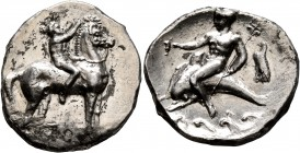 CALABRIA. Tarentum. Circa 302-280 BC. Didrachm or Nomos (Silver, 22 mm, 7.78 g, 3 h). Nude youth riding horse walking to right, raising his right hand...