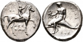 CALABRIA. Tarentum. Circa 302-280 BC. Didrachm or Nomos (Silver, 21 mm, 7.78 g, 1 h), Sa..., Arethon and Cas..., magistrates. ΣA - APE/ΘΩN Nude youth ...