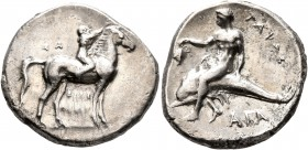 CALABRIA. Tarentum. Circa 302-280 BC. Didrachm or Nomos (Silver, 23 mm, 7.64 g, 1 h), Sa..., Philiarchos and Aga..., magistrates. ΣA - ΦΙΛΙ/APXOΣ Nude...