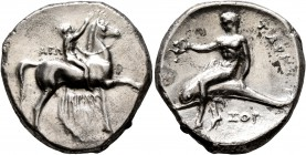 CALABRIA. Tarentum. Circa 302-280 BC. Didrachm or Nomos (Silver, 22 mm, 7.82 g, 12 h), Ago..., Kratinos and Xor..., magistrates. AΓΩ - KPAT/INOΣ Nude ...