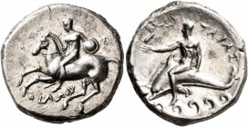 CALABRIA. Tarentum. Circa 280-272 BC. Didrachm or Nomos (Silver, 21 mm, 7.82 g, 10 h), Ey... and Philon, magistrates. Nude warrior on horseback left, ...