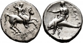 CALABRIA. Tarentum. Circa 280-272 BC. Didrachm or Nomos (Silver, 21 mm, 7.78 g, 1 h), Deinokrates and Si..., magistrates. ΣI / ΔEINOKPATHΣ Nude rider ...