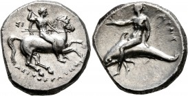 CALABRIA. Tarentum. Circa 280-272 BC. Didrachm or Nomos (Silver, 21 mm, 7.83 g, 7 h), Deinokrates and Si..., magistrates. ΣI / ΔEINOKPATHΣ Nude rider ...
