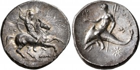 CALABRIA. Tarentum. Circa 280-272 BC. Didrachm or Nomos (Silver, 23 mm, 6.41 g, 11 h), The... and Alex..., magistrates. Nude rider on horse galloping ...