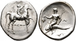 CALABRIA. Tarentum. Circa 272-240 BC. Didrachm or Nomos (Subaeratus, 23 mm, 6.36 g, 6 h), Leon... and An..., magistrates. ΛEΩN Nude youth riding horse...