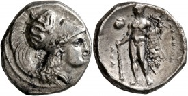 LUCANIA. Herakleia. Circa 330/25-281 BC. Didrachm or Nomos (Silver, 21 mm, 7.71 g, 2 h). Head of Athena to right, wearing Corinthian helmet decorated ...