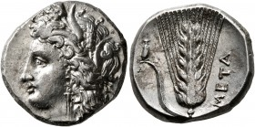 LUCANIA. Metapontion. Circa 330-290 BC. Didrachm or Nomos (Silver, 20 mm, 7.85 g, 7 h). Head of Demeter to left, wearing wreath of grain ears, triple ...