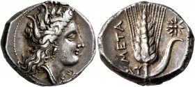 LUCANIA. Metapontion. Circa 330-290 BC. Didrachm or Nomos (Silver, 21 mm, 7.86 g, 6 h). Head of Demeter to right, wearing grain wreath, triple pendant...