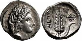 LUCANIA. Metapontion. Circa 330-290 BC. Didrachm or Nomos (Silver, 21 mm, 7.85 g, 6 h). Head of Demeter to right, wearing grain wreath, triple pendant...