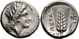 LUCANIA. Metapontion. Circa 330-290 BC. Didrachm or Nomos (Silver, 20 mm, 7.87 g, 9 h). Head of Demeter to right, wearing grain wreath, triple pendant...