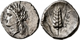 LUCANIA. Metapontion. Circa 330-290 BC. Didrachm or Nomos (Silver, 21 mm, 7.67 g, 2 h). Head of Demeter to left, wearing wreath of grain ears, triple ...