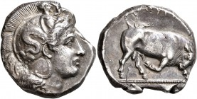 LUCANIA. Thourioi. Circa 400-350 BC. Distater (Silver, 25 mm, 15.36 g, 4 h). Head of Athena to right, wearing helmet adorned, on the bowl, with Skylla...