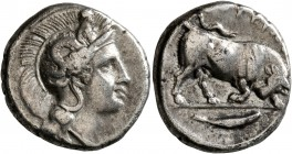 LUCANIA. Thourioi. Circa 400-350 BC. Didrachm or Nomos (Silver, 21 mm, 7.81 g, 2 h). Head of Athena to right, wearing helmet adorned, on the bowl, wit...