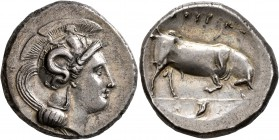 LUCANIA. Thourioi. Circa 350-300 BC. Distater (Silver, 26 mm, 15.79 g, 10 h). Head of Athena to left, wearing crested Attic helmet adorned, on the bow...