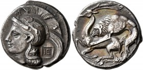 LUCANIA. Velia. Circa 280 BC. Nomos (Silver, 20 mm, 7.26 g, 10 h). Head of Athena to left, wearing crested Athenian helmet decorated with a griffin on...