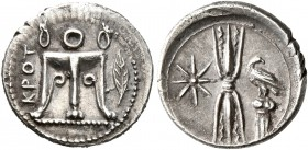 BRUTTIUM. Kroton. Circa 400-350 BC. Triobol (Silver, 13 mm, 1.10 g, 11 h). KPOT Tripod with lion's feet; to right, olive sprig. Rev. Upright thunderbo...